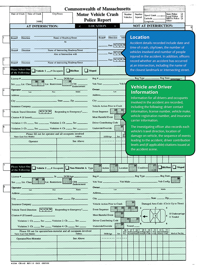 How to read a Massachusetts Accident Report, Page 1