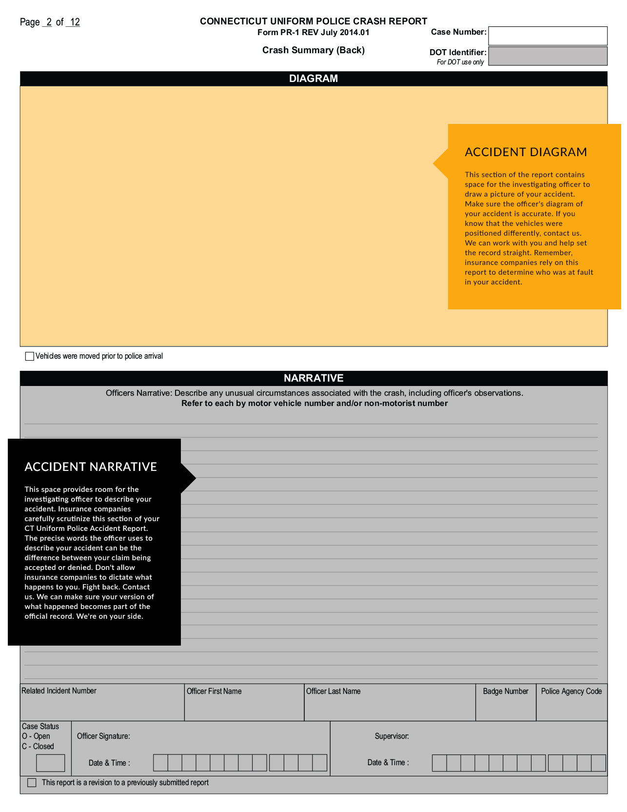 CT Accident Report instructions