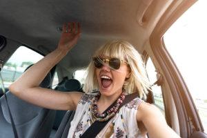 A female teen driver speeding