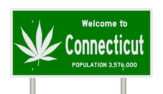 A 3d rendering of a green road sign for Connecticut